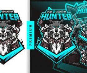 Wolf legendary hunter football gaming logo vector