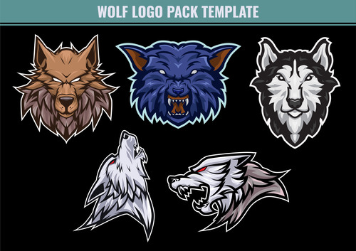 Wolf mascot pack template vector