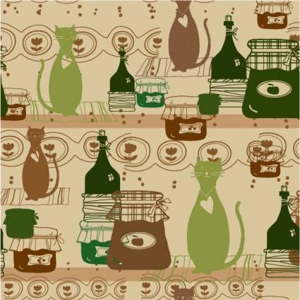 cartoon cat background 05 vector