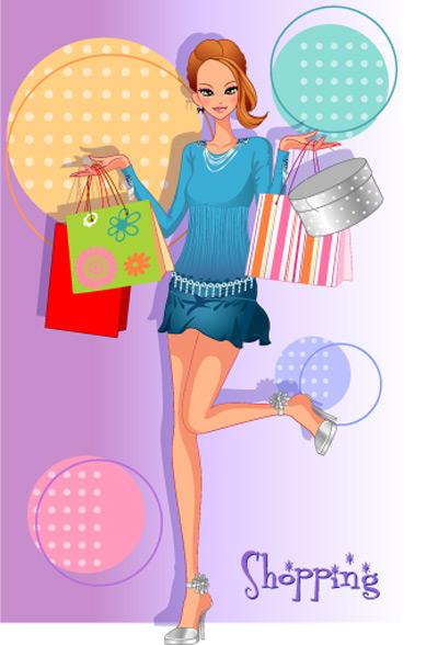 girls shopping set 134 vector