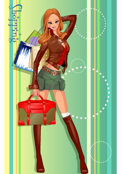 girls shopping set 132 vector