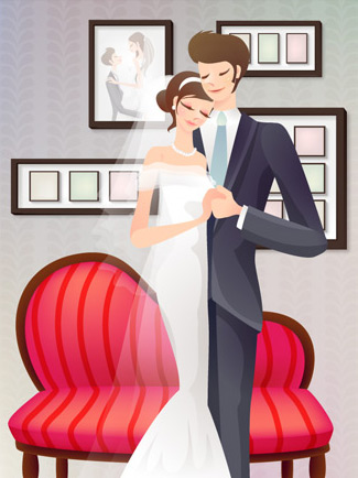 Sweet wedding set 75 vector