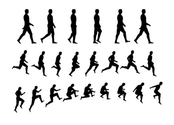 Character movement silhouette vector