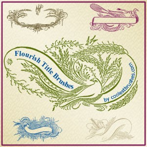 Flourish Banners and Titles Photoshop Brushes
